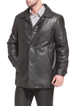 "Load image into Gallery viewer, BGSD Men's ""Samuel"" New Zealand Lambskin Leather Car Coat - Big & Tall"
