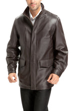 Load image into Gallery viewer, bgsd mens bryson zealand lambskin leather coat tall