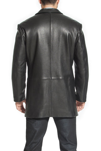 "BGSD Men's ""Carter"" Three-Button New Zealand Lambskin Car Coat - Tall"