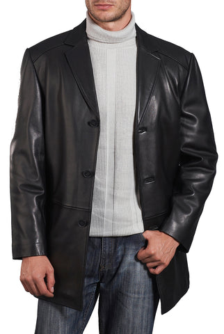 "BGSD Men's ""Carter"" Three-Button New Zealand Lambskin Car Coat - Big & Tall"