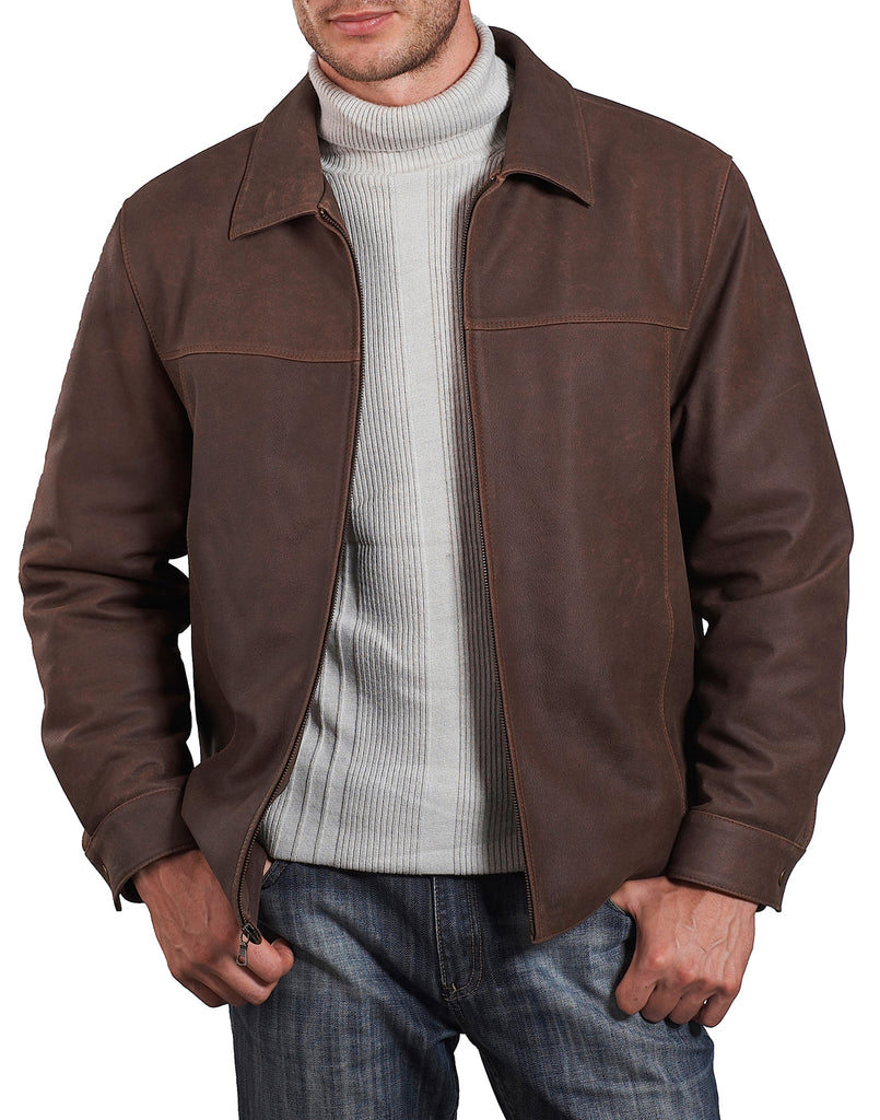 bgsd mens silas distressed cowhide leather hipster jacket tall