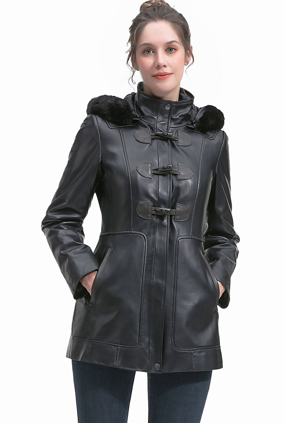 BGSD Women's New Zealand Lambskin Leather Toggle Coat
