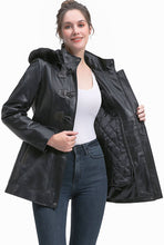 Load image into Gallery viewer, BGSD Women's New Zealand Lambskin Leather Toggle Coat