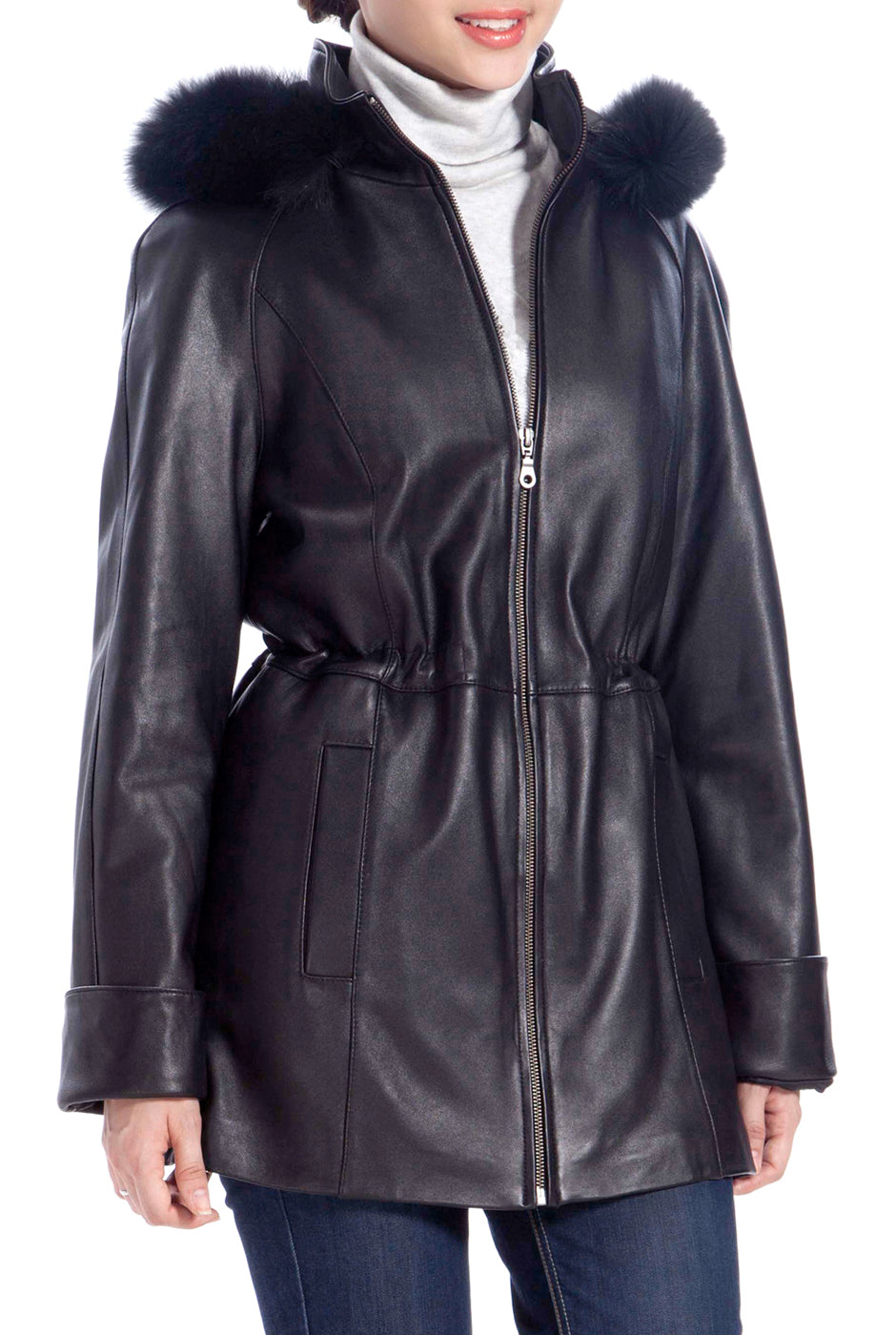 BGSD Women's Lambskin Leather Hooded Parka Coat - Short