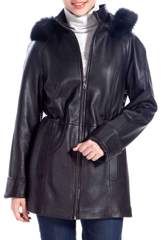 BGSD Women's Lambskin Leather Hooded Parka Coat - Plus Short