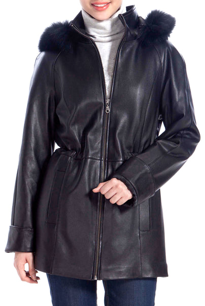 BGSD Women's New Zealand Lambskin Leather Hooded Parka Coat - Short