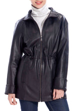 Load image into Gallery viewer, BGSD Women's Lambskin Leather Hooded Parka Coat - Short
