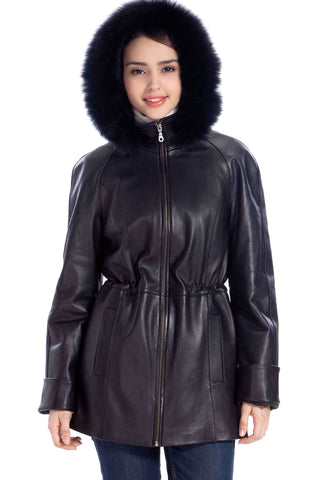 BGSD Women's Fox Fur Trim Lambskin Leather Hooded Parka Coat - Petite
