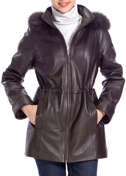BGSD Women's Fox Fur Trim Lambskin Leather Hooded Parka Coat - Plus