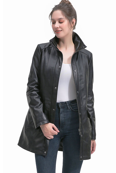 BGSD Women's New Zealand Lambskin Leather Coat