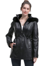 Load image into Gallery viewer, BGSD Women's New Zealand Lambskin Leather Hooded Parka Coat - Plus Short