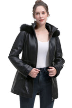 Load image into Gallery viewer, BGSD Women's New Zealand Lambskin Leather Hooded Parka Coat