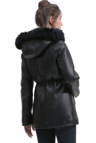 BGSD Women's New Zealand Lambskin Leather Hooded Parka Coat - Plus Short