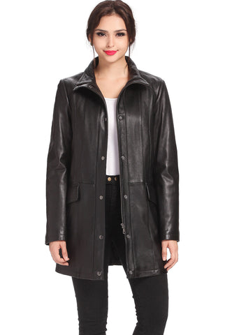 "BGSD Women's ""Rachel"" New Zealand Lambskin Leather Coat - Plus Short"