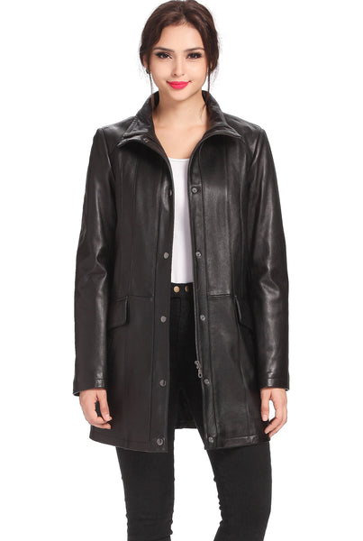 "BGSD Women's ""Rachel"" New Zealand Lambskin Leather Coat - Plus"
