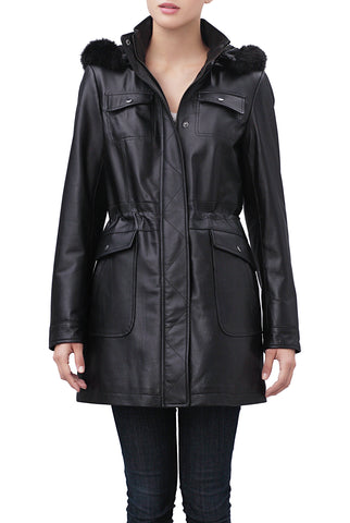 "BGSD Women's ""Jane"" Hooded Lambskin Leather Parka Coat - Plus"