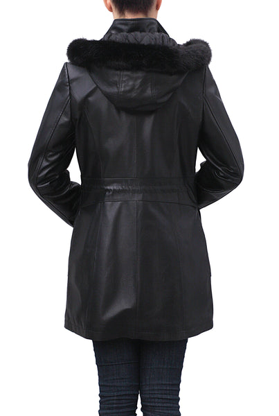 "BGSD Women's ""Jane"" Hooded Lambskin Leather Parka Coat"
