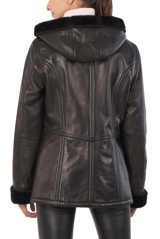 bgsd womens gina hooded lambskin leather parka coat plus