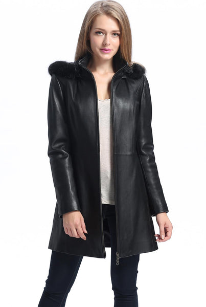"BGSD Women's ""Irene"" New Zealand Lambskin Leather Parka Coat"