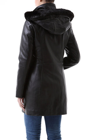 "BGSD Women's ""Irene"" New Zealand Lambskin Leather Parka Coat - Petite"