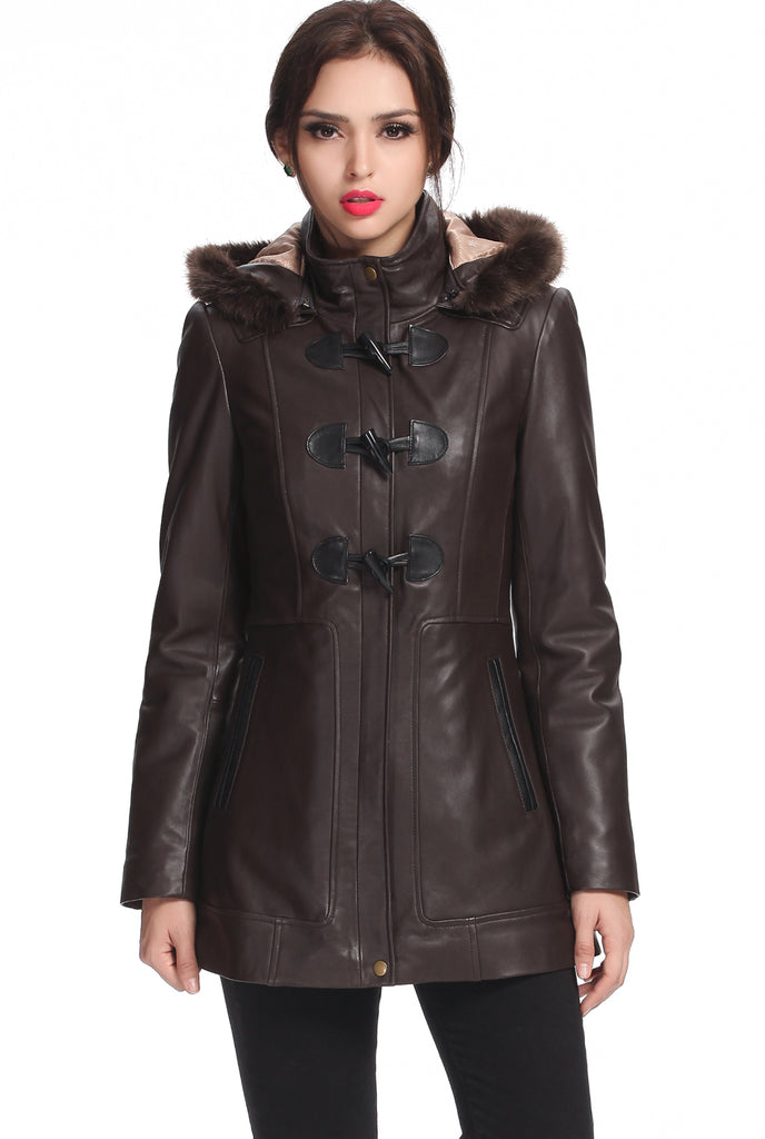 "BGSD Women's ""Amanda"" New Zealand Lambskin Leather Toggle Coat"