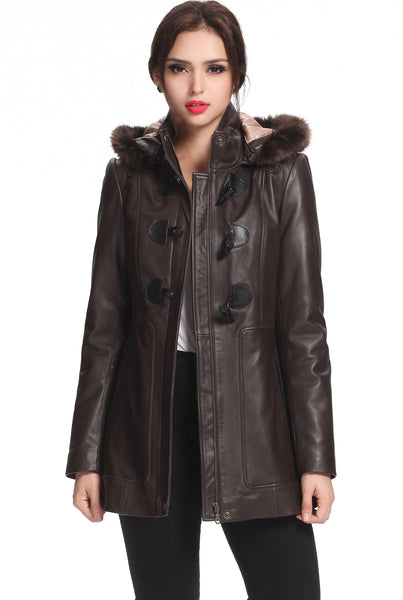 "BGSD Women's ""Amanda"" New Zealand Lambskin Leather Toggle Coat - Plus"