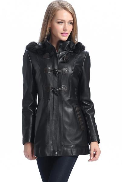 "BGSD Women's ""Amanda"" New Zealand Lambskin Leather Toggle Coat - Plus Short"