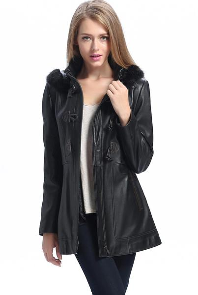 "BGSD Women's ""Amanda"" New Zealand Lambskin Leather Toggle Coat - Short"