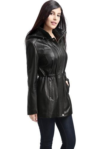 "BGSD Women's ""Natalie"" New Zealand Lambskin Leather Anorak Coat - Short"