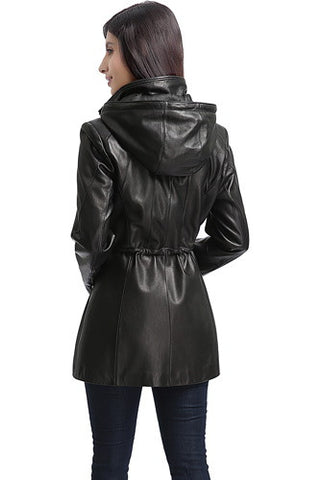 "BGSD Women's ""Natalie"" New Zealand Lambskin Leather Anorak Coat"