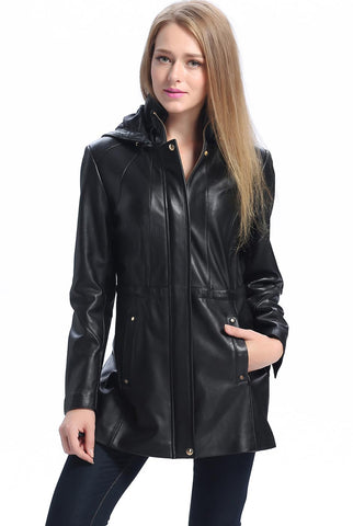 "BGSD Women's ""Natalie"" New Zealand Lambskin Leather Anorak Coat - Plus"