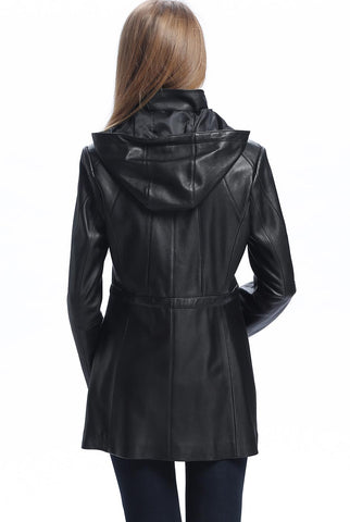 "BGSD Women's ""Natalie"" New Zealand Lambskin Leather Anorak Coat - Plus Short"