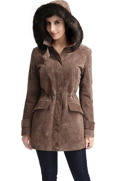"BGSD Women's ""Chloe"" Hooded Suede Leather Parka Coat - Plus"