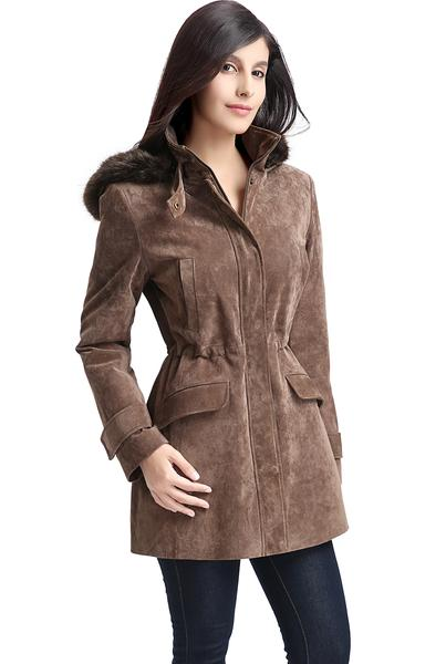"BGSD Women's ""Chloe"" Hooded Suede Leather Parka Coat - Plus Short"