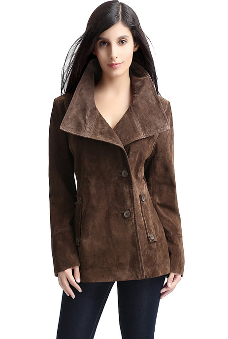 bgsd womens aria cocoon funnel neck suede leather jacket