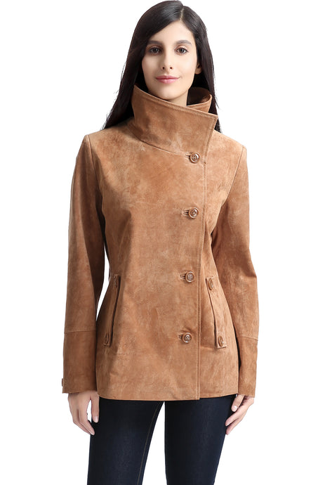 bgsd womens aria cocoon funnel neck suede leather jacket 1