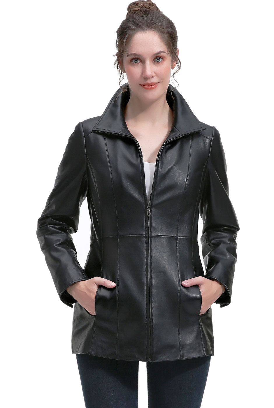 BGSD Women's New Zealand Lambskin Leather Jacket