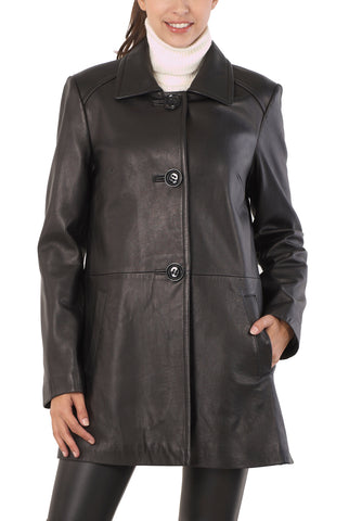 "BGSD Women's ""Hannah""New Zealand Lambskin Leather A-Line Coat - Short"