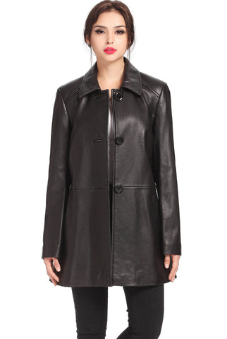 "BGSD Women's ""Hannah""New Zealand Lambskin Leather A-Line Coat - Plus"