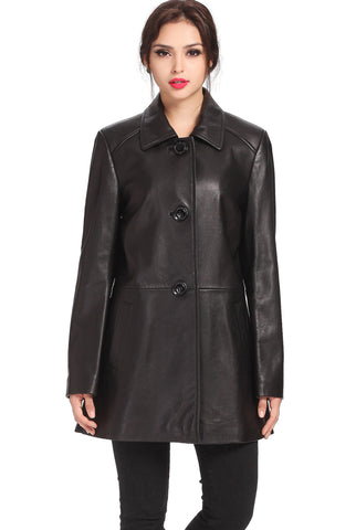 "BGSD Women's ""Hannah""New Zealand Lambskin Leather A-Line Coat - Plus Short"