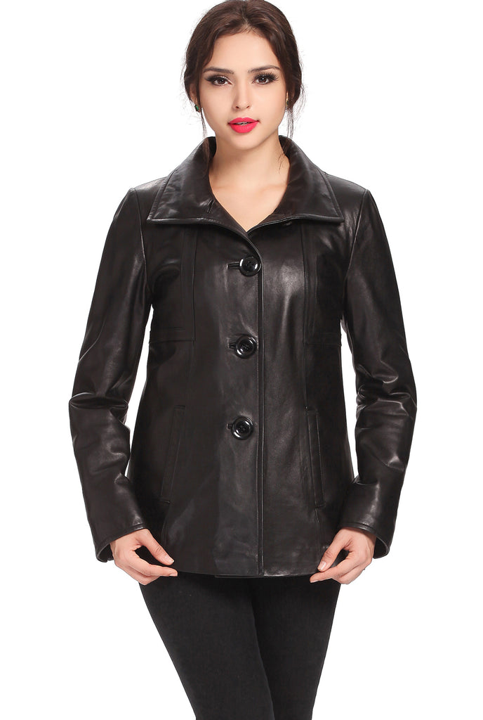 "BGSD Women's ""Evelyn"" Wing Collar New Zealand Lambskin Leather Jacket - Plus Short"