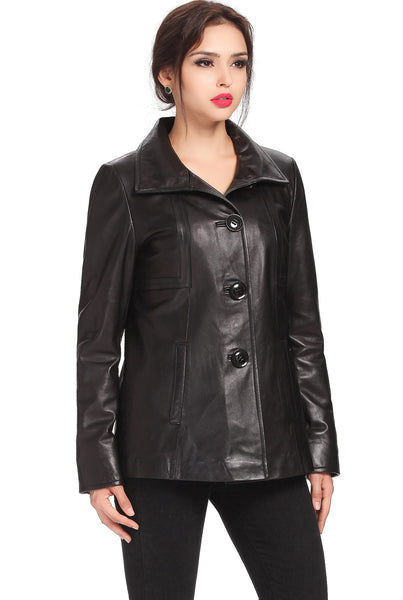 "BGSD Women's ""Evelyn"" Wing Collar New Zealand Lambskin Leather Jacket"