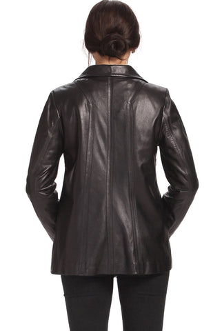 "BGSD Women's ""Evelyn"" Wing Collar New Zealand Lambskin Leather Jacket - Plus"