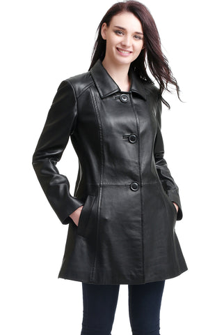 "BGSD Women's ""Sarah"" New Zealand Lambskin Leather A-Line Coat - Plus"