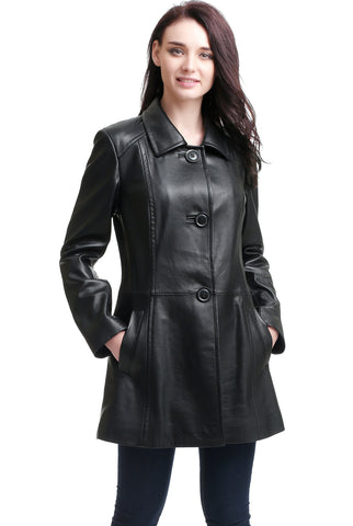 "BGSD Women's ""Sarah"" New Zealand Lambskin Leather A-Line Coat - Plus Short"