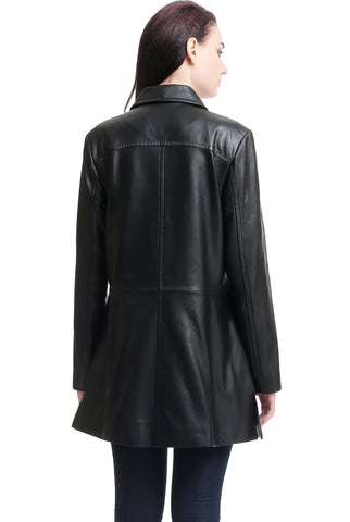 "BGSD Women's ""Sarah"" New Zealand Lambskin Leather A-Line Coat - Short"