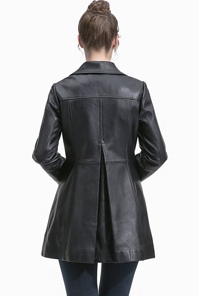 BGSD Women's New Zealand Lambskin Leather Coat - Plus