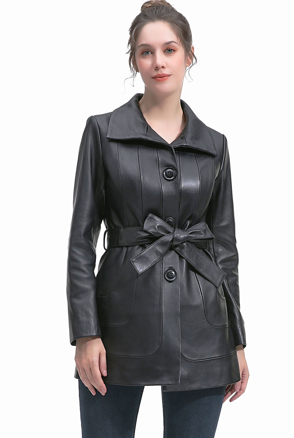 BGSD Women's New Zealand Lambskin Leather Coat - Short