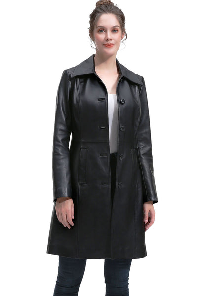 BGSD Women's New Zealand Lambskin Leather Long Coat - Short