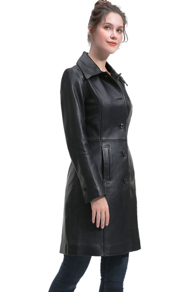 BGSD Women's New Zealand Lambskin Leather Long Coat